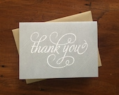Thank You Pinstripe Gray, single letterpress card