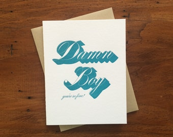 Drop Shadow: Damn Boy, single letterpress card
