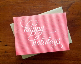Holidays Pinstripe, single letterpress card