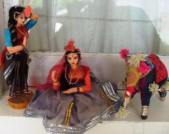 Vintage East India Dancer Dolls and Elephant Lot