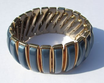 Vintage Arpeggio Expansion Bracelet Cuff, Thermoset Blue Gray, gold tone, costume jewelry, 60s