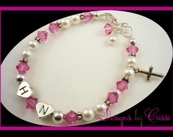 Custom Baptism Bracelet, Christening Bracelet, First Communion for girl and baby- personalized gift