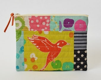 Modern Quilted Zipper Cosmetic Pouch Patchwork Echino Bag