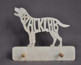 Choice of Any Breed  Dog Leash or Key Holder Wooden Hand Cut