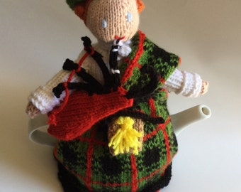 Scottish Bagpiper Knitted Tea Cosy