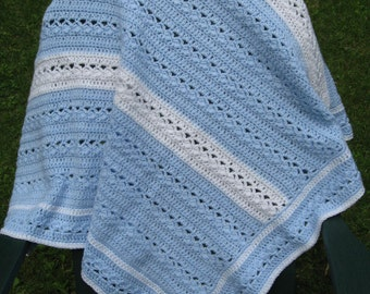 Blue and White Hand Crocheted Baby Afghan Blanket