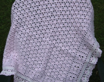 Hand Crocheted Petal Pink and White Baby Afghan  Blanket