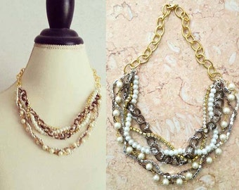 Wedding bridesmaids necklace, Rustic wedding necklace, Chunky bridal pearl necklace, Beach wedding necklaces, Wedding jewelry, KACY