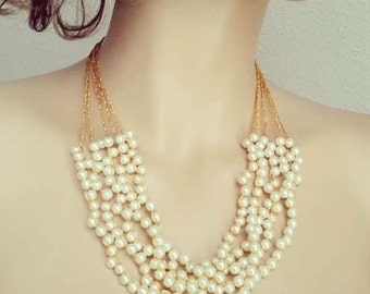 Gold Bridal Necklace Wedding Pearl Necklace Bridal Statement Necklace Bridesmaid Necklace Vintage Glamour Art Deco Gatsby DOREN Sukran