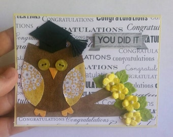 Owl Graduation Card, Graduation Card, Congratulations Card, Congratulations Graduate Card, Card, Greeting Card, Owl Card, Ready to Ship, RTS