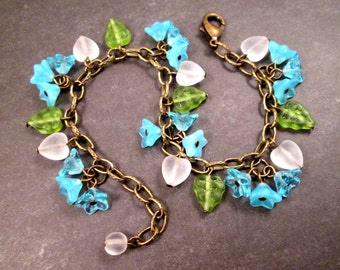 Flower Charm Bracelet, Zen Garden, Colorful and Brass Beaded Bracelet, FREE Shipping U.S.