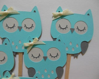 Owl Cupcake Toppers - Aqua and Gray - Girl Birthday Party Decorations - Girl Baby Shower Decorations - Set of 6