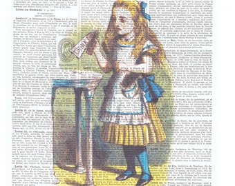 Alice in Wonderland, Drink Me. Colour. Antique French Book Page Print.Altered art,buy 3 get 1 FREE, deco.wall hanging.birthday.child.mom.dad