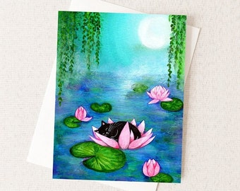 Cat Card - Cat Lover Card - Monet Inspired Water Lilies Painting - A2 Greeting Card - Blank Inside