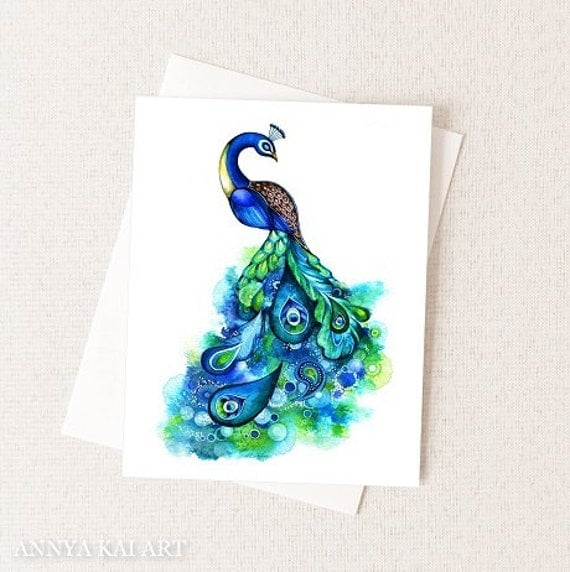 Peacock Watercolor Greeting Card - Abstract Floral and Bird Painting - Blue Gold Sapphire Emerald Green