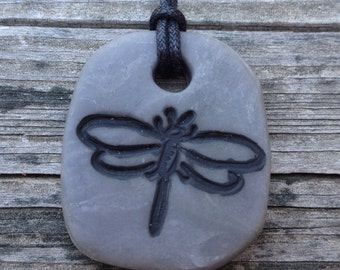 Dragonfly Faux Stone Polymer Clay Pendant Necklace