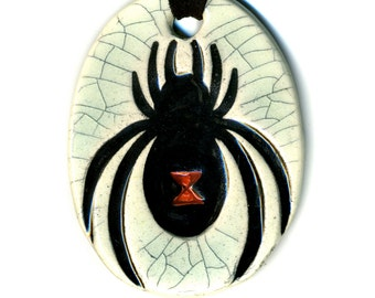 Black Widow Ceramic Necklace in Crackle