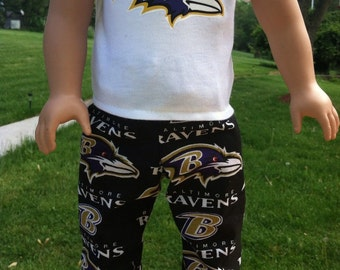 18 inch boy doll clothes fun BALTIMORE RAVENS sleep or lounge set for your special 18 inch boy or girl doll