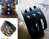 Trinity Turquoise Leather Cuff Bracelet, Men's Women's Native American Boho Gypsy Bohemian Bracelet, Turquoise Wrist Band, Tribal Jewelry