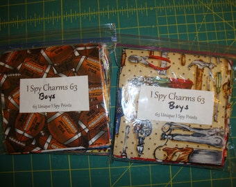 "BOYS I Spy Quilt Kit - 63 Precut 5"" Charm Squares"