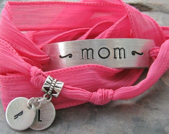 Personalized Mother's Bracelet, Choose your Silk Ribbon Wrap, aluminum or copper bar, 30 character max, 15 per line, mother's day gift