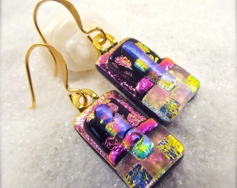 Dichroic Earrings, dichroic, fused dichroic earrings, dichroic glass, Hana Sakura, fused glass, pink earrings, glass fusion, glass gifts