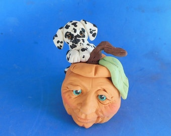 Ready to ship! ORIGINAL sculpture Dalmatian dog with Halloween Jack-O-Lantern by Sally's Bits of Clay