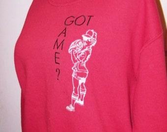 Crew Neck Sweatshirt GOT GAME Softball Embroidery Fastpitch Adult Medium