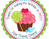 Cupcake Personalized Stickers - Birthday, Address Labels, Children, Gift Tags, Party Favors, Candy, Lollipop - Set of 12