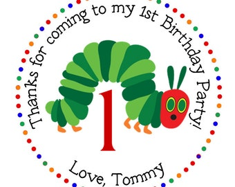 Hungry Caterpillar Personalized Stickers, Address Labels, Gift Tags, Party Favors, Children, Birthday, Hang Tags, Insect Party - Set of 12