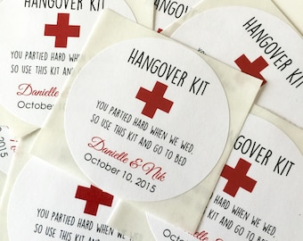 Hang Over Personalized Stickers, Wedding Labels, Wedding Favors, Gift Tags, Party Favors, Hang Tags, Seals- Set of 12
