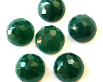 Gemstone Cabochons Green Onyx Fancy Faceted 12mm FOR ONE