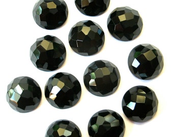 Gemstone Cabochons Black Onyx Fancy Faceted 12mm FOR ONE