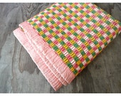 1920s Blanket - Pink and Green - Geometric Pattern