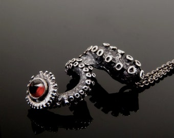 SALE - Bullet Garnet Pendant, Octopus Jewelry, Tentacle Jewellery, Unisex sterling silver
