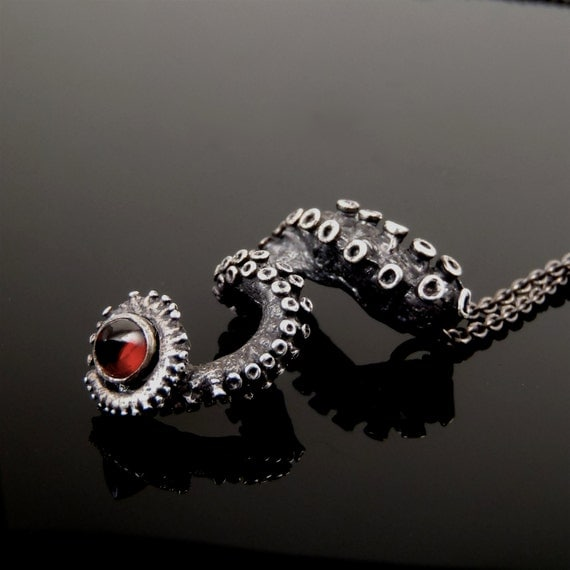 SALE - Bullet Garnet Pendant, Octopus Jewelry, Tentacle Jewellery, Unisex sterling silver by OctopusMe steampunk buy now online