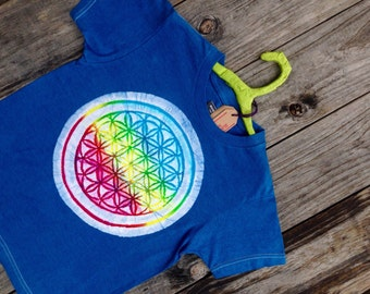 Kids organic t shirt cotton flower of life ultra soft batik individually hand drawn hand painted navy blue