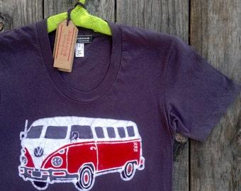 VW camper bus hippie camper t shirt women organic t shirt batik handmade Westfalia Eco friendly hand dyed vintage black Tops & Tees