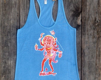 Kali racerback tank top batik women light blue hand drawn hand painted hand dyed - yoga clothes - size XS, S, M, L