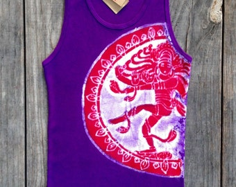 Shiva batik yoga eco friendly women tank top hand drawn hand painted hand dyed purple - Tops & Tees -