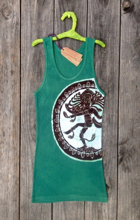 Shiva yoga clothes batik eco friendly tank tops & tees womens clothing hand dyed teal green, yoga clothing