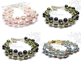 Swarovski Pearl Bracelet, Dark Purple, Light Green, Blue, Rose Swarovski Pearls Bracelet by CandyBead