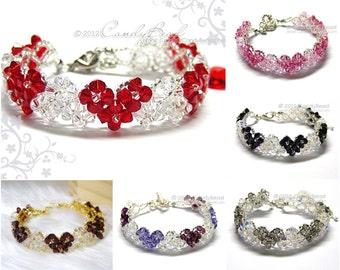 Crystal Bracelet, Heart Swarovski Crystal Bracelet by CandyBead