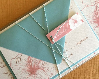 TWINE COLLECTION- Deposit Vintage Hawaiian invitation, teal and pink