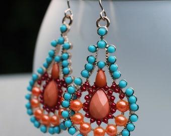 Boho Chic Earrings, Large Colorful Gypsy Statement Earrings, Orange Turquoise Peach Red Golden Earrings, 14k Gold Ear Wires, Ethnic Earrings