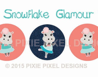 INSTANT DOWNLOAD - M2MG Snowflake Glamour Bottlecap Images Bottle Cap Disc-Its Scrapbooking Boutique Digital Collage Art Sheet