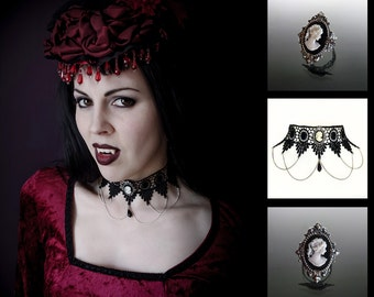 Gothic choker and cameo ring set - SINISTRA lace choker and matching Cameo ornate filigree gothic ring