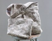 Grey Damask Hobo Bag and Zipper Pouch Set - Bag  Reversible to Solid Grey Linen