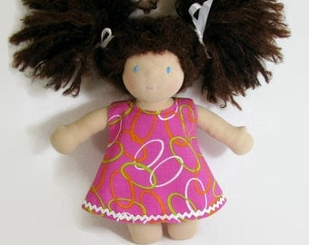 For Waldorf 10 to 12 inch doll, bright pink a-line dress, pink doll dress