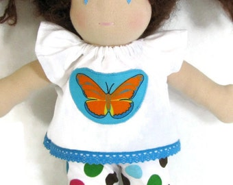 Handmade Waldorf Doll Clothes, 10 inch doll butterfly top and dotty leggings, doll leggings, upcycled butterfly patch doll shirt